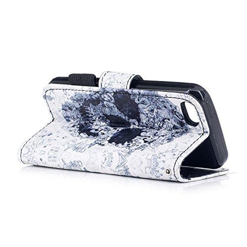 iPhone 5C Hülle,iPhone 5C Ledertasche Handyhülle Brieftasche im BookStyle,SainCat Retro 3D Muster Marmor PU Leder Hülle Wallet Case Folio Schutzhülle Scratch Bumper Handytasche Backcover Handy Tasche  Schädelkopf