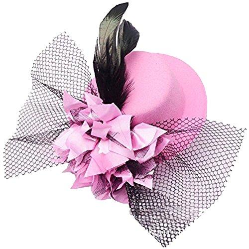 Damen Fascinator Hut Blumen Haar Clip Feder Burlesque Punk Mini (Mini Hut Bowler)