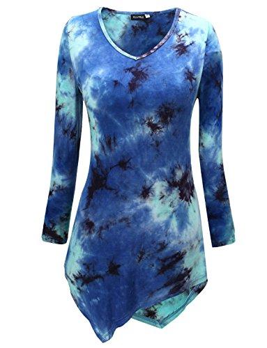 KorMei Maglietta in Knit V collo allentata Manica lunga -Donna Blu#3
