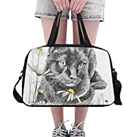 Plosds Large Duffel Bag Drawing Art Picture Cat Yoga Gym Totes Fitness Handbags Duffel Bags Shoe Pouch For Sport Luggage Womens Outdoor Dance Duffel Bag