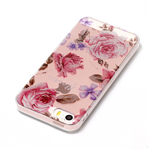Custodia iPhone 5S Silicone, Custodia Cover per iPhone 5 in Silicone Transparente, JAWSEU Creativo Disegno Ultra Sottile Slim Cristallo Chiaro Custodia per iPhone SE Case Corpeture Antiurto Liscio Bri Rose