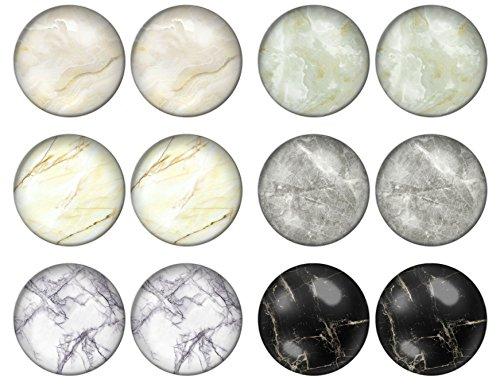 LilMents, 6 paia di Orecchini a lobo da donna in acciaio inossidabile, con motivo a pietra/marmo, 10 mm