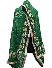 Jaipur Rajasthani Art Silk Bandhej Dupatta With Gota Patti Border & Gota Patti Work