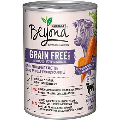 Purina BEYOND Hundenassfutter: getreidefreie Pastete mit Stückchen, Premium Hundefutter, im 6er Pack (6 x 400 g)