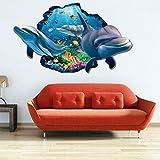 Wandtattoo Kinderzimmer Flach Wandsticker 3D Aufkleber Romantisch Ozean Wal PVC Wand Papier Wohnzimmer Schlafzimmer Cafe Hotel Bar Wandkunst Wandaufkleber 60 * 90cm