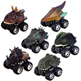 FLYING_WE Ziehen Sie Dinosaurierautos zurück 6, Dino Cars Spielzeug mit Riesenrad für 3-14 jährige Jungen Mädchen Kreative Geschenke für Kinder.