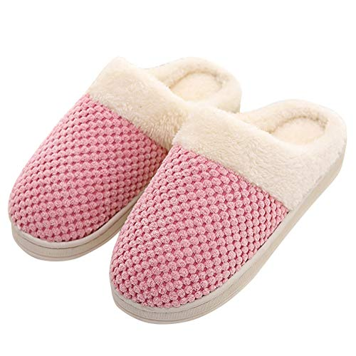 Tomwell Unisex Home Slippers Winter Warm Fleece Plush Lining Anti-Slip Comfort Cozy Clog House Shoes Indoor & Outdoor Flats for Women Men