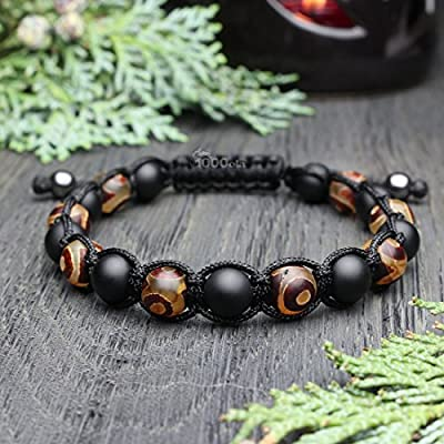 Mode tendance Bracelet Homme Style Shambala Perles Ø 8mm pierre naturelle Agate motif Tibétain onyx mat noir fil nylon