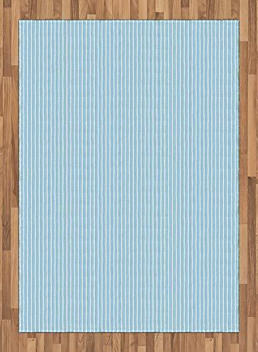 ABAKUHAUS Nadelstreifen Teppich, Ungleiche Crooked breite Linien, Deko-Teppich Digitaldruck, Färben mit langfristigen Halt, 80 x 150 cm, Pale Azure Blau und Weiß -