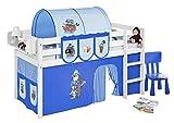 Lilokids JELLE2054KW-PIRAT-BLAU-S Spielbett Jelle Pirat, Hochbett mit Vorhang Kinderbett, Holz, blau, 208 x 98 x 113 cm