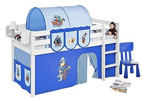 Lilokids JELLE2054KW-PIRAT-BLAU-S Spielbett Jelle Pirat, Hochbett mit Vorhang Kinderbett, Holz, blau, 208 x 98 x 113