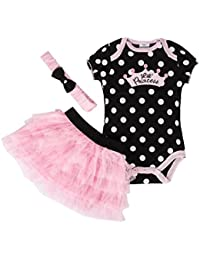 179e51bb1fc Newborn Baby Girls Tutu Princess Dress Romper Body Suit with Headband 3pcs  Outfit Set 0-