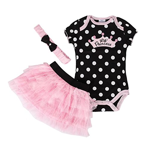Dizoon Newborn Baby Girls Tutu Princess Dress Romper Body Suit with Headband 3pcs Outfit Set 0-24 Months