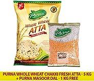 Purna Whole Wheat Chakki Fresh Atta - 5 kg + Masoor Dal - 1 kg (Pack of 2)