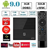 PHANTIO A95X F2 Android 9.0 4K Smart TV Box : 4GB DDR3 32GB ROM 2.4GWiFi USB 3.0 HDMI 2.1 BT 4.2 G31 GPU Voice Remote - Plays Jio TV, Airtel TV, Netflix, Hotstar and More