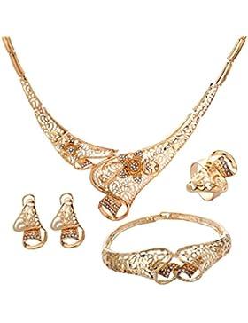 YAZILIND Edel Gold überzogene Höhle Blumen Frauen Halsketten Armband Ring Ohrring 4 Stück Schmuck Sets