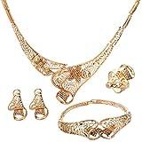 Yazilind Edel Gold überzogene Höhle Blumen Frauen Halsketten socken Ring Ohrring 4 Stück Schmuck Sets (A)