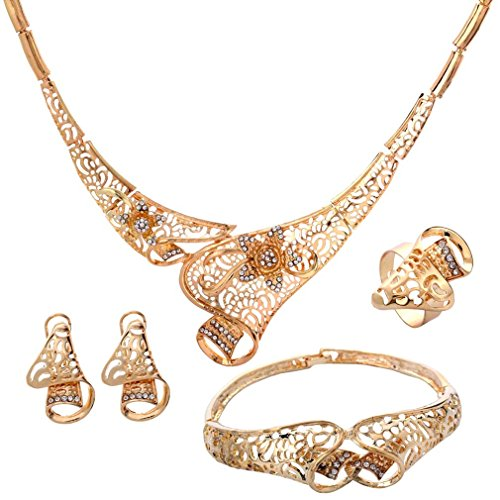 Yazilind Edel Gold überzogene Höhle Blumen Frauen Halsketten Armband Ring Ohrring 4 Stück Schmuck Sets (A)