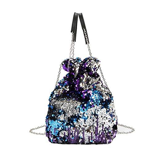 VADFLOD Damen Reversible Pailletten Bucket Bag Paillette Drawstring Chain Strap Geldbörsen Handtaschen Umhängetaschen, Lila -