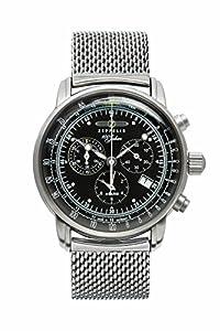Zeppelin Men's Watch 100Jahre Zeppelin Analogue Quartz One Size, Black, Silver