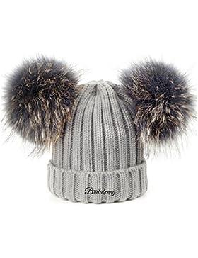 CAPPELLO PON PON DOPPIO STACCABILE IN VERA PELLICCIA GRIGIO GREY (1-4 ANNI) CAPPELLINO Hat Fur Baby Kids Double...