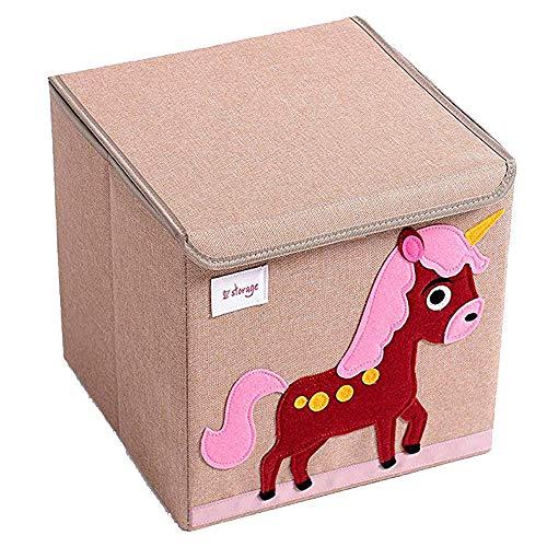 TruReey Falt-Aufbewahrungsbox mit Deckel, stabil, klappbar, leicht zu reinigen und zu organisieren, Spielzeug-Aufbewahrungsbox, Stoff, 33x 33x 33cm. Einhorn