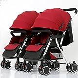 Unbekannt Tragbar Doppel-Twin-Kinderwagen Twin-Twin-Kinderwagen 2 Sitzeinheiten, Kompatibel mit Sicherheitssitzen oder Clips oder Baby-Sicherheitssitze. Stoßdämpferreifen (Farbe : Red)