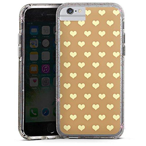 Apple iPhone 7 Plus Bumper Hülle Bumper Case Glitzer Hülle Herzchen Beige Polka Bumper Case Glitzer rose gold