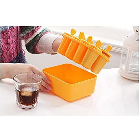 Contever® 8 x Popsicle Molds - Square Shaped Food-grade PP Ice Pop / Stick Ice Cream / Lolly Maker Tool Set With Bowl - Orange