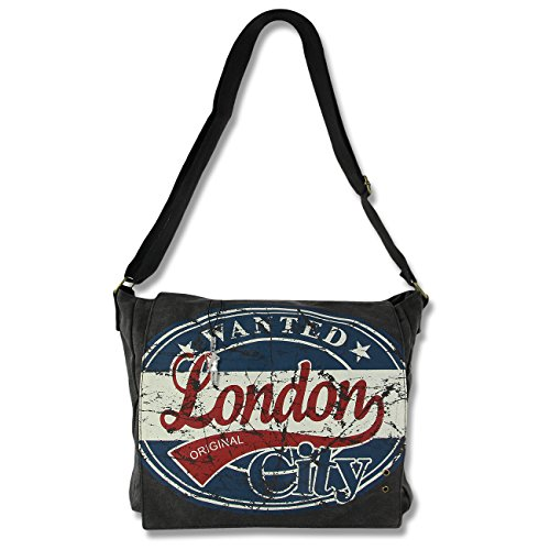Umhänge- Crossbody Schultertasche London Wanted Motiv- Farbauswahl D4OTG200X blau-rot (London Wanted)