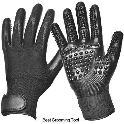Pteng Handschuh Comb Haarentferner Hundepflege-Handschuhe 1 Paar Verbesserte Hundesalon-Werkzeug Effiziente Haustier-Haarentferner Mitt Deshedding Massage Mikrofaserseite Gummi Tierhaare -