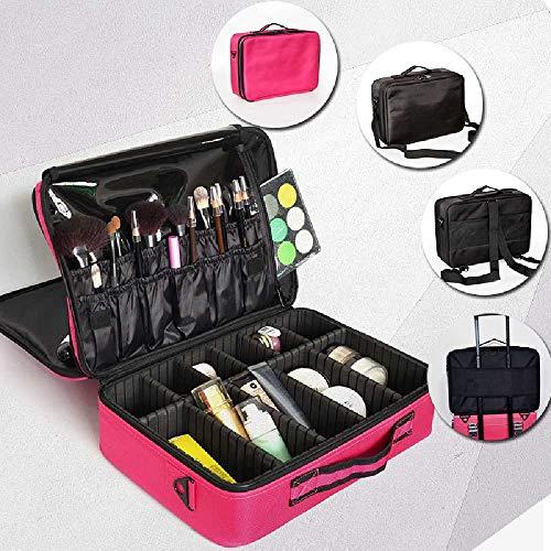 Jiahao - Trousse professionale per cosmetici, multifunzione, portatile, grande, doppio strato Mini Rose Red Velcro