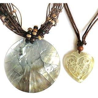 ATD® Verkauf. Damen 5,8cm Natur Mother-of-Shell Anhänger Halskette + Halskette Kleines Herz Shell. Hand Made