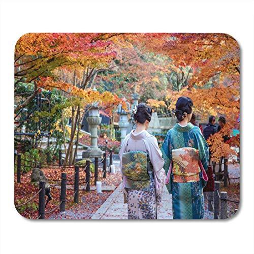 Mauspad, Kostüm, Orange Festival, japanische Damen im Kimono, genießen Sie Herbstblätter, rot, lokale Paare, Mauspad für Notebooks, Desktop-Computer, Bürobedarf, 25 x 30 - Tolle Paare Kostüm