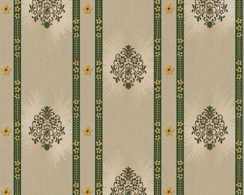 A.S. Creation 887313 Mustertapete Hermitage 8, beige/grün/metallic