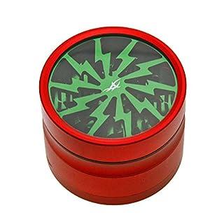 Grinder mit Reinigungs-Set: After Grow Thorinder rot-grün - Siebgrinder mit transparentem Deckel - 4 Teile, 6,2 cm Durchmesser - head&nature Smoke Shop