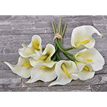 YATAI 8 Pcs Artificial Flowers Real Touch Calla Lily Artificial Plants Fake Flowers Floral Bouquet for Home Parties Wedding Event Decor (White)