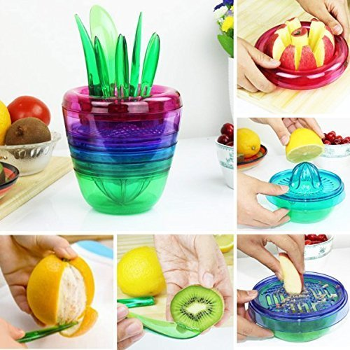 Salat Shredder (UChic Multi Functional Kitchen Werkzeugset Set von 10 Obst Pflanzen Salat Maker Kreativ Handbuch Obst Gemüse Entsafter Cutter Slicer für Apple Zitrone Grapefruit Avocado und Citrus)