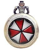 En caja de regalo - Resident Evil Umbrella de bronce antiguo/grabado de cuarzo reloj de bolsillo collar de reloj de pulsera para mujer