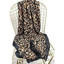 ldyy Bufanda de Las Mujeres Mantón del Abrigo Invierno Cuello cálido Abrigo Pañuelo Estola Estampado Leopardo