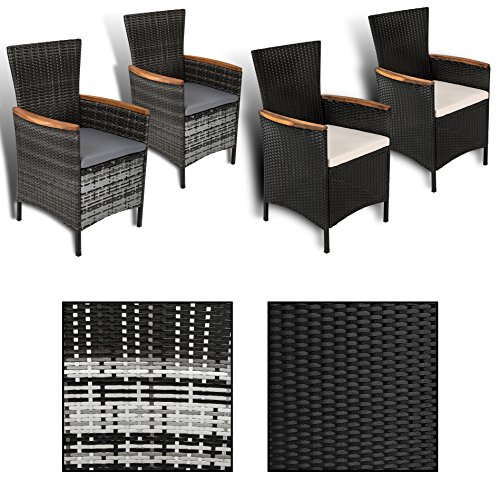 ESTEXO 2er Set Polyrattan - Gartensessel mit Akazienholz Armlehnen, Rattan Sessel/Stühle (Grau)