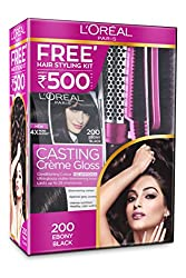 LOral Paris Casting Crme Gloss, Ebony Black 2, 625g with Free Hair Styling Kit