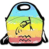 Black Style Zodiac Sign Of Aquarius Lunch Carry Bag For Man And Woman