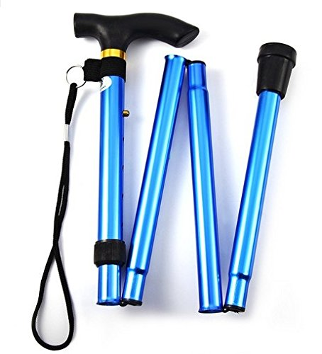 Ducomi® Verstellbarer Klappstiel 82 bis 92 cm in Aluminium - Leicht, Tragbar und Langlebig - Inklusive Transportgurt (Blue)