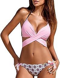 bbff5c63e Vandot Mujeres Push Up Bra Relleno Frontal Cross Bandage Bikini Set Talla  Grande Swimwear Traje de baño Triángulo Bañador Swimsuit