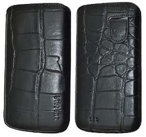 Suncase Original Echt Ledertasche mit Rückzugfunktion für Samsung Galaxy S4 i9505 croco-schwarz