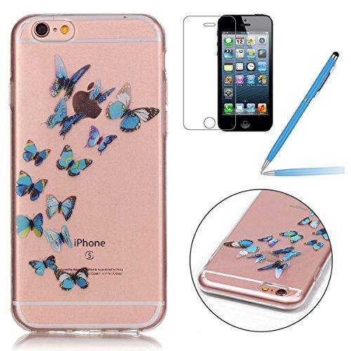 iPhone 6 Hülle,iPhone 6S Silikon Case,iPhone 6 Cover - Felfy Ultradünne Weicher Gel Flexible Soft TPU Silikon Transparent Hülle Schutzhülle Hülle Color Muster Farbmalerei Beschützer Hülle Handy Durchs Blauer Schmetterling Cas