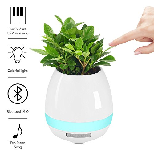 Music Flowerpot,Smart Plant pots,Touch Music Plant Lamp with Rechargeable Wireless Bluetooth Speaker...