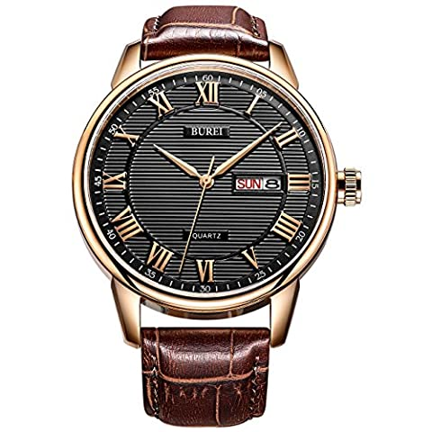 BUREI Classic Day and Date Mens Watches in Roman Numerals