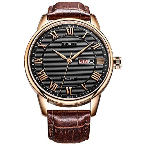 BUREI da uomo classico orologio da polso al quarzo con giorno data quadrante numeri romani texture design e morbido cinturino in pelle (Marrone2)